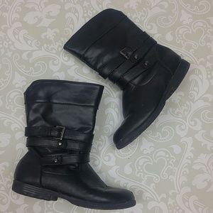 Girls black bike boots with cute buckle detail